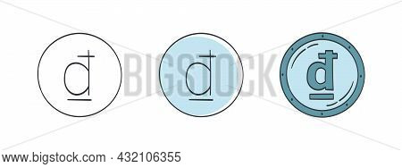 Vietnamese Dong Badges. The Drawn Symbol Of The Dong. Symbols Of The Currencies Of The World. Vector