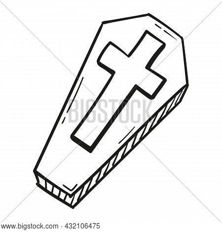 Hand Drawn Coffin Icon In Doodle Style Isolated.