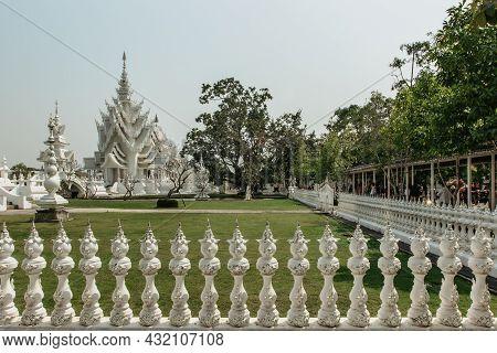 Chiang Rai, Thailand - February 16, 2020. White Temple Wat Rong Khun In North Thailand.thai Buddhist