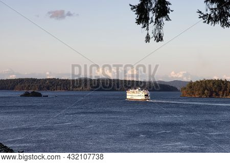 Victoria, Vancouver Island, British Columbia, Canada - August 7, 2021: Bc Ferries Boat Leaving The T