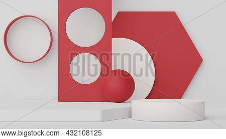 Podium For Product Placement With Retro Modern And Contemporary Design. 3d Rendering Minimal Scene F