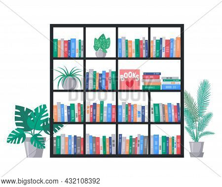 Bookcase With Book Collection On Shelves. Stacks Of Colourful Books. Interior With Home Plants. Vect