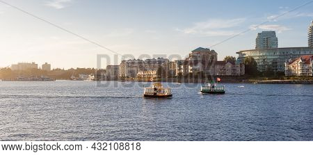 Victoria, Vancouver Island, British Columbia, Canada - August 18, 2021: Water Taxi In Downtown Victo