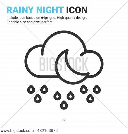 Rainy Night Icon Vector With Outline Style Isolated On White Background. Vector Illustration Rainy A