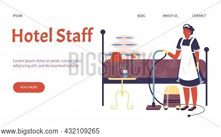 Web Template With Text Hotel Staff And Maid With Vacuum Cleaner And Bed. Vector Illustration For Lan
