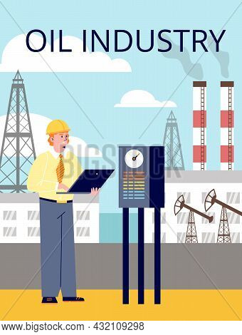 Vector Flat Cartoon Illustration Of Working Engineer Against Background Of Oil Refinery Holding Lapt