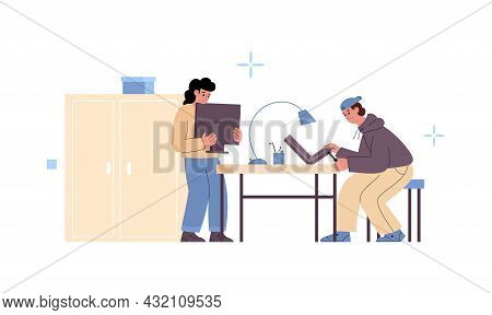 Male Professional Technicians Working At Computer Service Fix Laptop And Monitor
