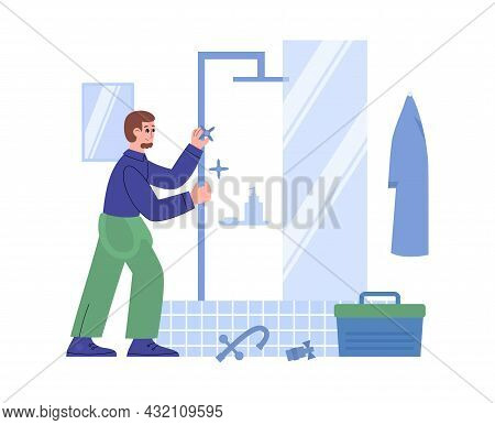 Plumber Fixing Broken Pipes In Bathroom, Flat Vector Illustration Isolated.