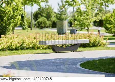 Footpath Walkway In Summer Park In Sunny Day