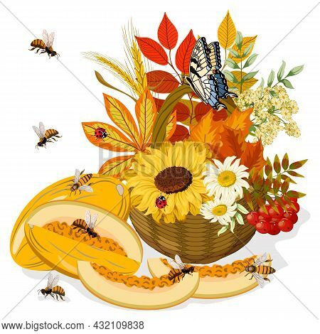 Melons And Basket With Autumn Leaves.basket With Autumn Leaves, Berries, Flowers And Melons On A Whi