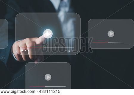 Businessman Pressing Play Button To Start Or Initiate Projects, Hand Press Play Button Sign To Start
