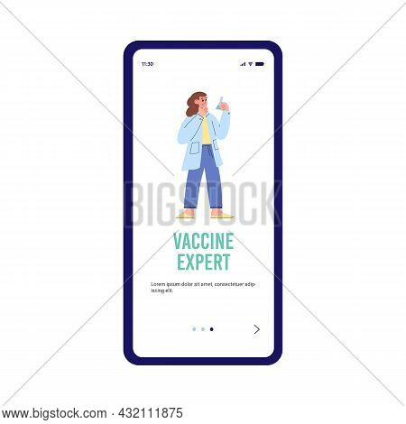 Vaccine Expert Onboarding Page With Cartoon Scientist Vector Illustration.