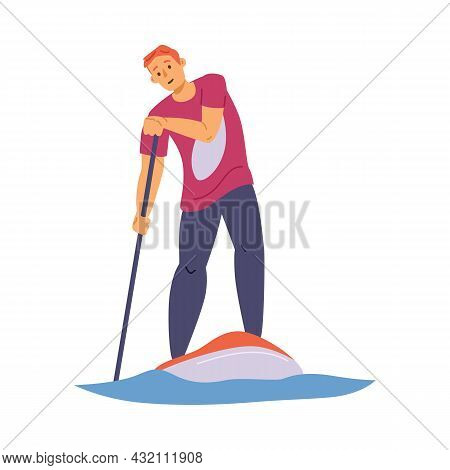 Man Standing On Paddleboard With Paddle, Flat Vector Illustration Isolated.