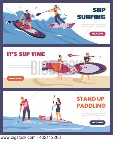 Stand Up Paddling Water Activity Flyers Or Banners Set Flat Vector Illustration.