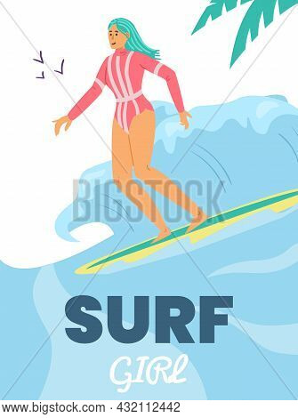 Vertical Banner With Surfing Young Girl In Swimwear, Flat Vector Illustration.