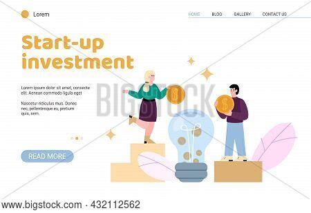 Startup Investing And Entrepreneurship Support Website, Flat Vector Illustration.
