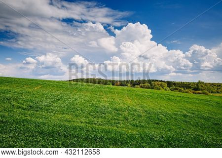 Wonderful summer scene of green rural area and cultivated fields on a sunny day. Agricultural area of Ukraine, Europe. Perfect photo wallpaper. Ecology concept. Discover the beauty of earth.