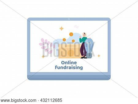 Online Fundraising And Financial Shares, Flat Vector Illustration Isolated.