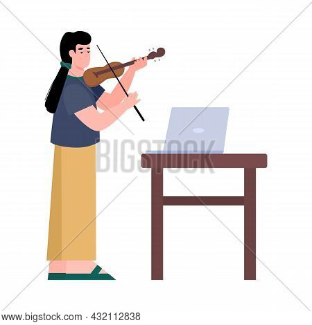 Woman Studies Violin Through Online Lesson, Flat Vector Illustration Isolated.
