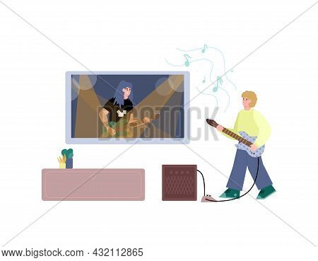 Online Rock Acoustic Guitar Learning, Flat Vector Illustration Isolated.