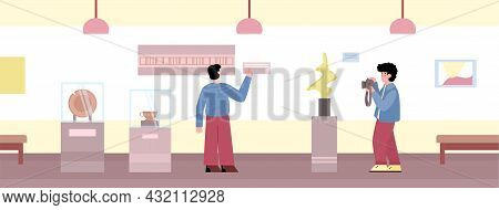 People Visitors At Museum Or Art Gallery Excursion A Vector Illustration.