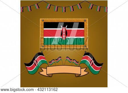 Kenya Flags On Frame Wood, Label, Simple Gradient And Vector Illustration