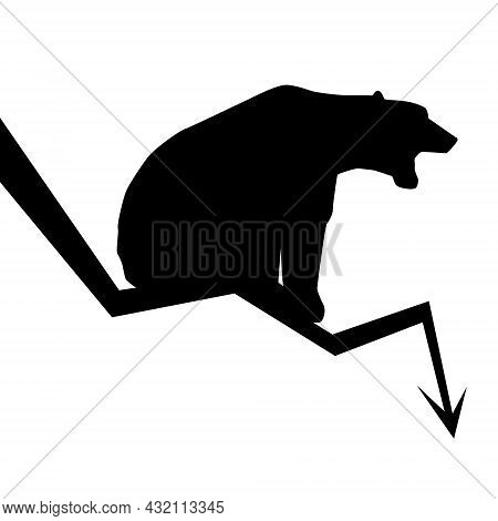 Silhouette Of Bear Sitting On Downward Trend Arrow Isolated On White. Market Fall Symbol. Vector Ill