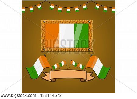 Ivory Coast Flags On Frame Wood, Label, Simple Gradient And Vector Illustration