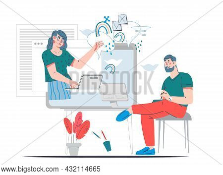 Business Partners At Internet Conference, Online Meeting Or Staff Training, Cartoon Flat Vector Illu