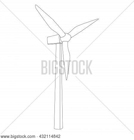Windmill Contour Outline With Three Blades Isolated On White. High Mast Wind Farm. Alternative Renew