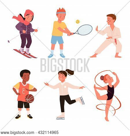 Cute Happy Boy Girl Run, Child Play, Baseball And Tennis, Active Young Children Characters Isolated