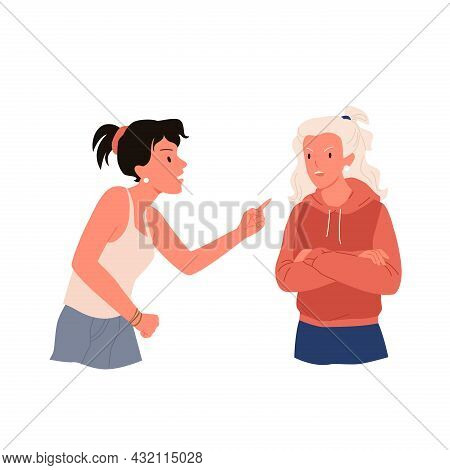 Quarrel Of Two Women, People In Stress Relationship Problem, Angry Dispute Of Friends
