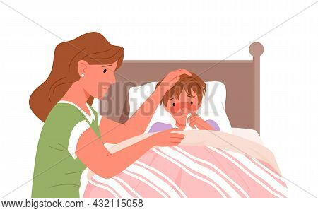 Mother And Sick Son With Cold Flu, Fever Ill Vector Illustration. Cartoon Feverish Child Lying In Be