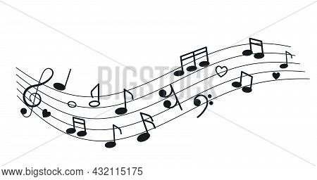 Musical Notes, Treble Clef, Heart On The Background Of The Stave. The Concept Of Love For Music And