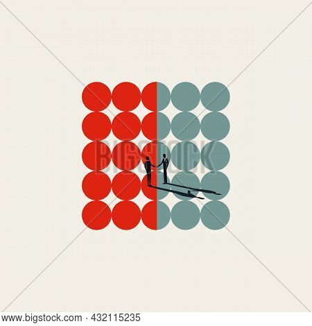 Business Merger And Acquisition Vector Concept. Symbol Of Negotiation, Connection, Unity. Minimal Il