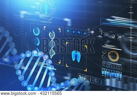 Digital Interface With Hologram Of Dna And Hud With Icons Of Lungs, Pills, Thermometer, Syringe, Eme