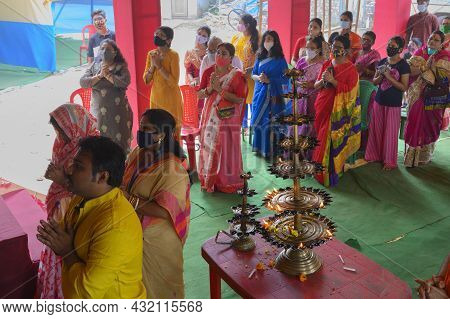 Howrah, West Bengal, India - 25th October 2020 : Goddess Durga Is Being Worshipped Inside Pandal. Ma