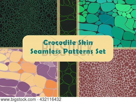 Set With The Five Abstract Seamless Pattern
