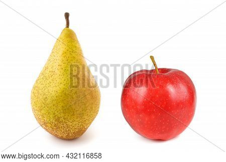 Red Apple And Pear  Isolated On White