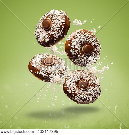 Flying Chocolate Glazed Donuts With Coconut Chips And Chocolate Truffle
