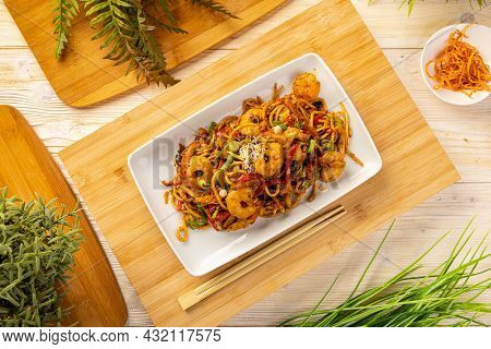 Flat Lay Of Typical Chinese Dish, Fresh Shrimp Stir Fried With Noodles