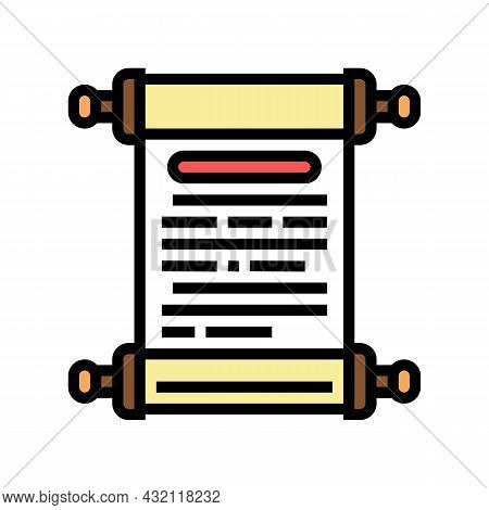 History Scroll Ancient Greece Color Icon Vector. History Scroll Ancient Greece Sign. Isolated Symbol