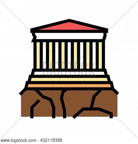 Acropolis Ancient Greece Architecture Building Color Icon Vector. Acropolis Ancient Greece Architect