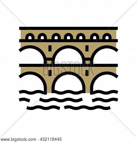 Aqueduct Ancient Rome Construction Color Icon Vector. Aqueduct Ancient Rome Construction Sign. Isola