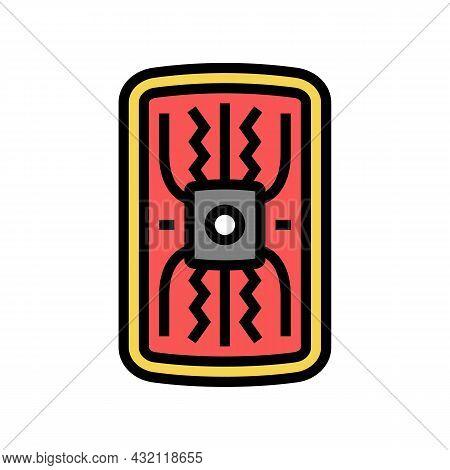 Warrior Shield Ancient Rome Color Icon Vector. Warrior Shield Ancient Rome Sign. Isolated Symbol Ill