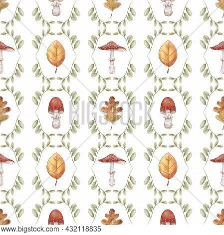 Autumn Seamless Pattern. Red Mushrooms. Orange Oak Linden Leaves Background