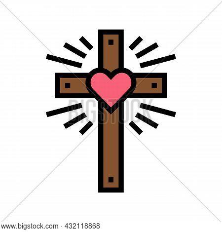 Faith Christianity Color Icon Vector. Faith Christianity Sign. Isolated Symbol Illustration