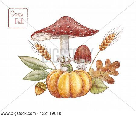 Mushrooms Pumpkin Illustration. Autumn Leaf Of Oak And Linden. Spikelet Of Wheat. Fly Agaric Hand Dr