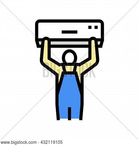 Air Conditioning Installation Color Icon Vector. Air Conditioning Installation Sign. Isolated Symbol