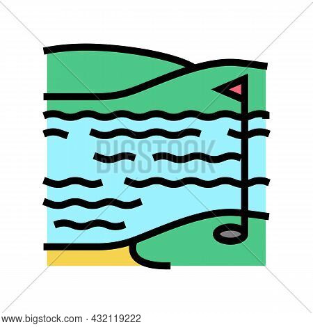 Lake And Field Golf Playground Color Icon Vector. Lake And Field Golf Playground Sign. Isolated Symb